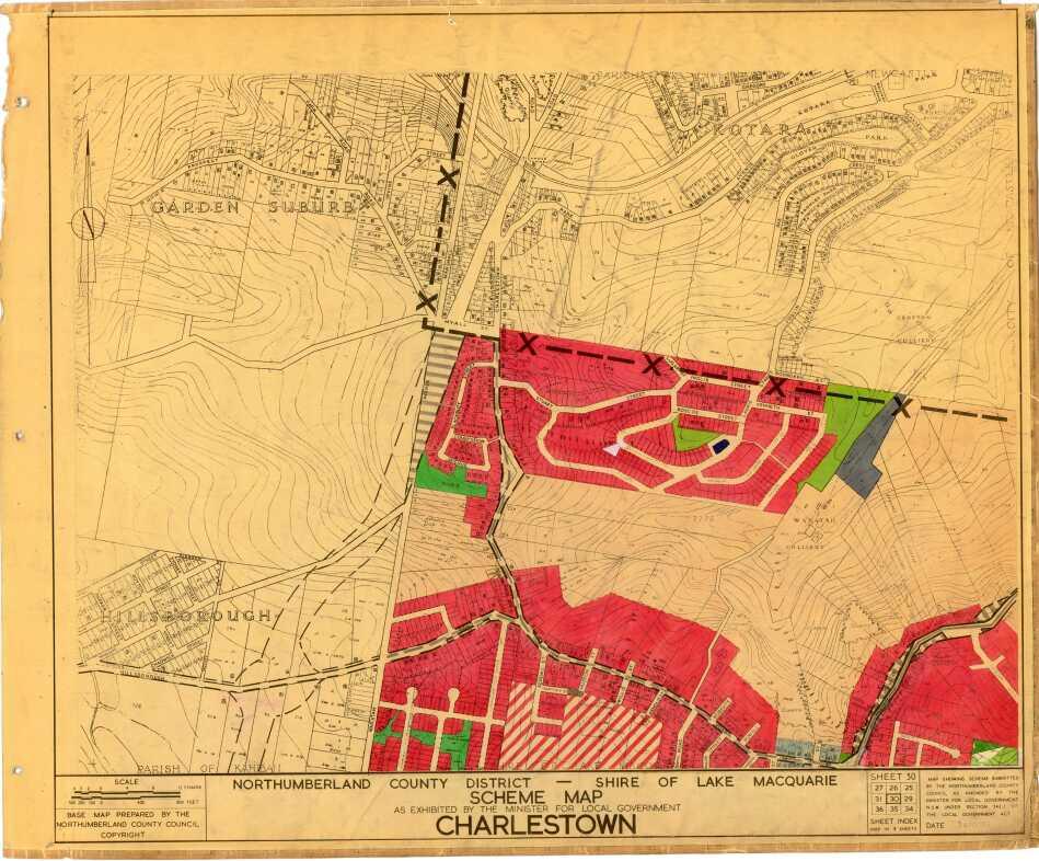 Charlestown: Northumberland County District scheme map: Shire of Lake Macquarie, Sheet 30 [Charlestown], 1955