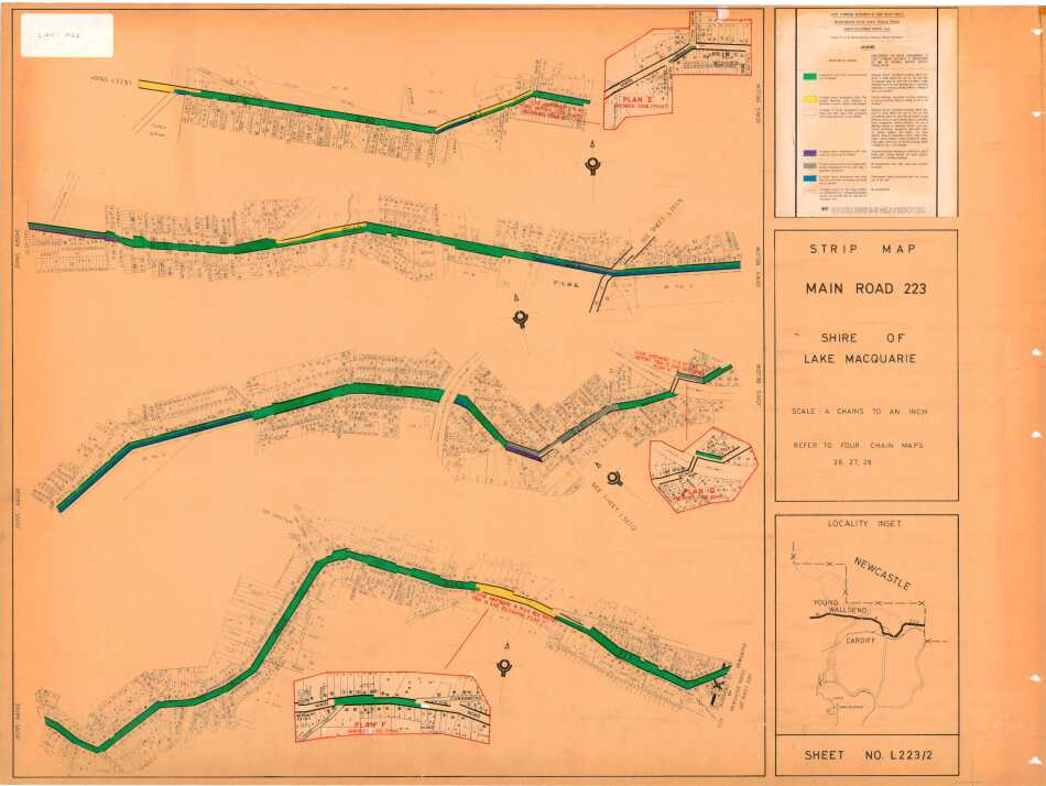 Cardiff: Strip Map Main Road 223, Shire of Lake Macquarie - sheet no L223/2 - showing frontages