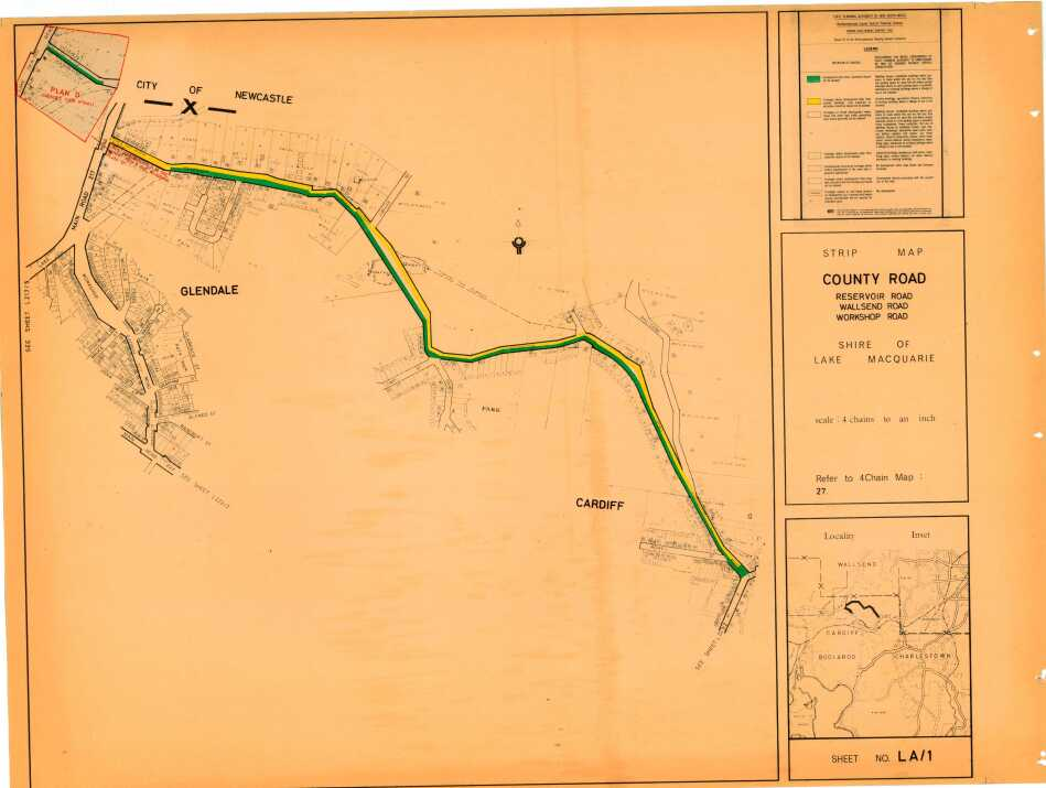 Glendale: Strip Map County Road, Shire of Lake Macquarie sheet no LA1 - showing frontages