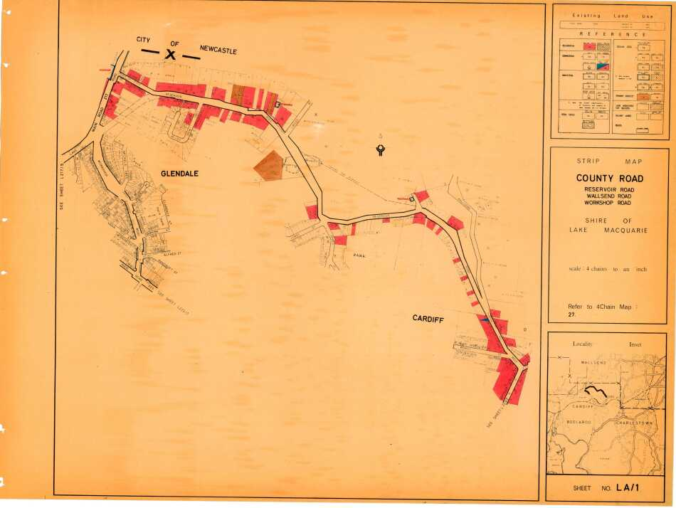 Glendale: Strip Map County Road, Shire of Lake Macquarie- sheet no LA1 - showing landuse