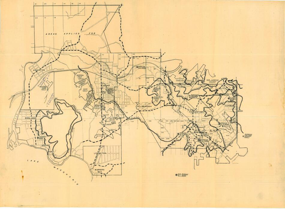 Map showing location of Collieries within Lake Macquarie areas of Charlestown, Warners Bay, Hillsborough, Cardiff, Speers Point & Boolaroo.