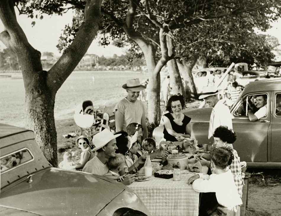 Picnic by the lake, c.1952. Family is the Potts family of Windale. Mr Len Potts is the man in the white long sleeved shirt. Others in this picture are Betty Geyer, Veronica Gilbert, Jayne Potts, Judith Potts and David Potts.