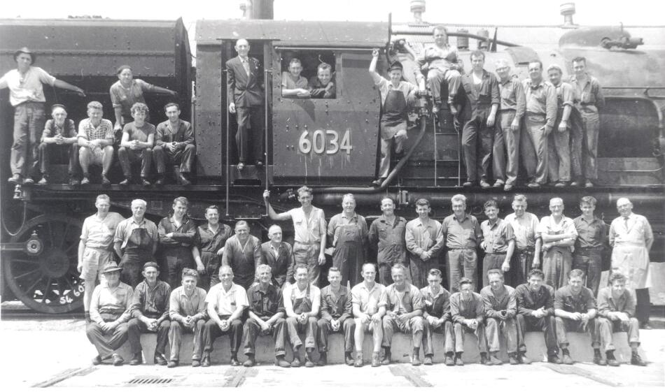 Workers and Train, Cardiff Railway Workshops. .