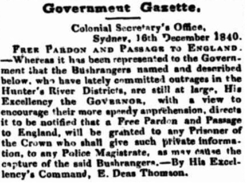 Article offering reward for capture of the Jewboy Gang. From The Sydney Monitor and Commercial Advertiser, Tuesday 22 December 1840, page 3.