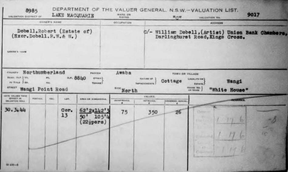 Lake Macquarie Council Valuer General rate record for Dobell House Wangi. 1944.