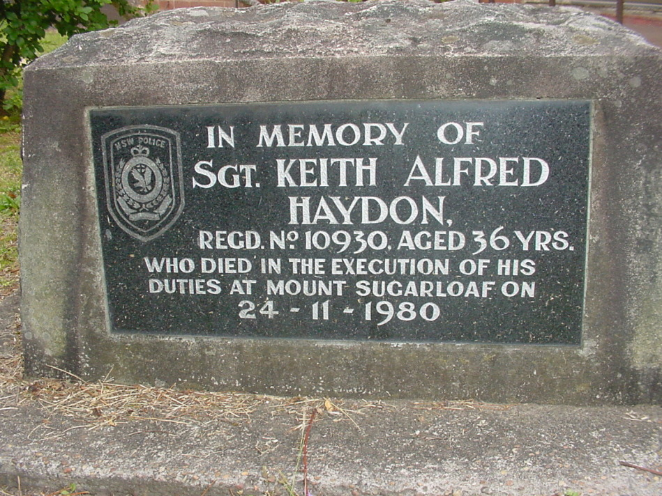 Plaque commemorating death of Sgt Keith Alfred Haydon in grounds of old West Wallsend Police Station - 10-12 Withers Street, West Wallsend.