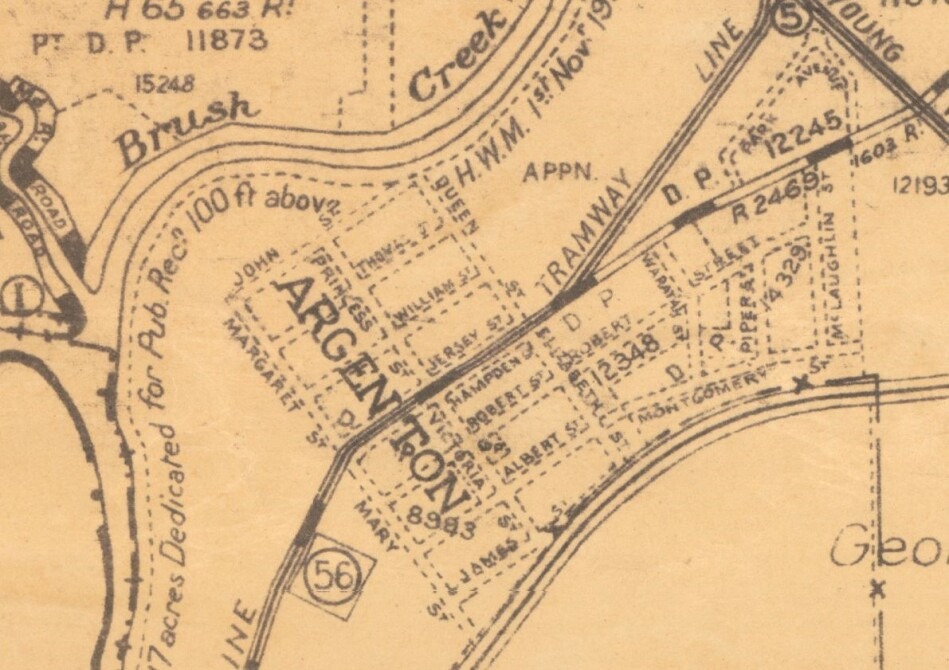 1931 Parish map showing Jersey Street and Hampden Street making up the main street either side of the tram line which runs down the centre.