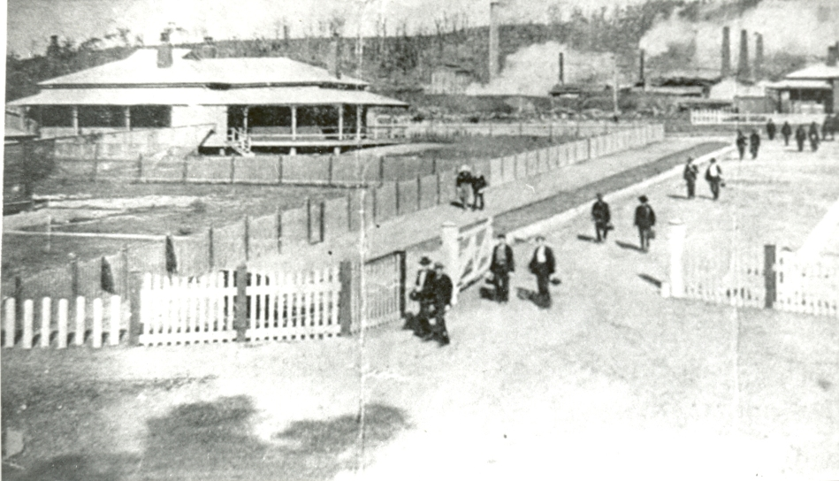 Early photo of Sulphide Works, Cockle Creek