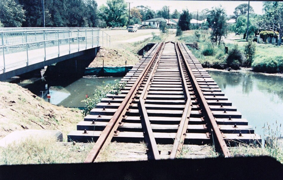 Low level crossing, Mudd Creek. Greenway Bridge on left. Taken by P Fenwick, (Industrial Archaeologist).