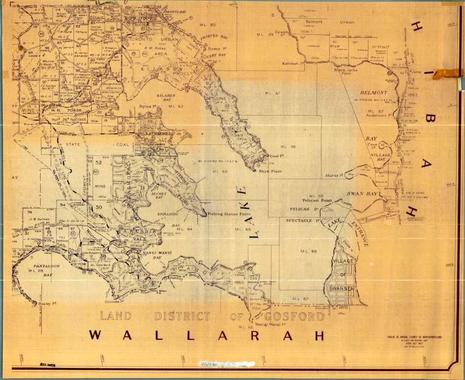 Lake Macquarie: Parish of Awaba, County of Northumberland, Shire of Lake Macquarie. Parish map in 4 sheets and reference sheet: South East Sheet