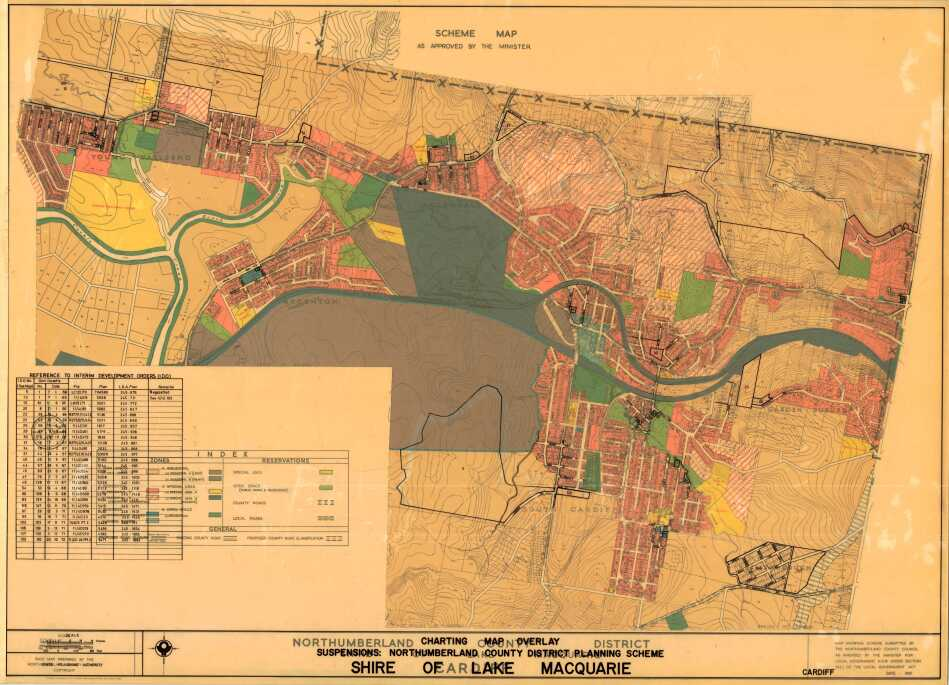 Cardiff: Northumberland County District scheme map: Shire of Lake Macquarie. [Cardiff] Charting Map Overlay 1966-1972 & Scheme Plan 1960