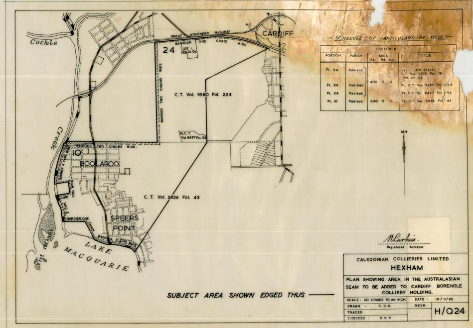 Cardiff: Plan showing area in the Australasian seam to be added to Cardiff Borehole Colliery holdings