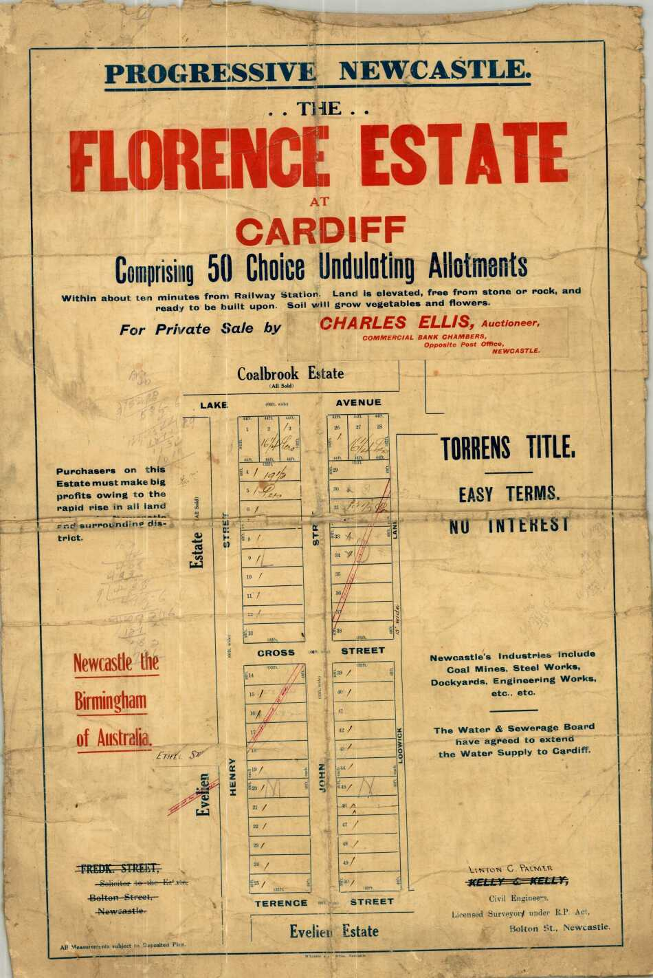 Cardiff: Progressive Newcastle, the Florence Estate at Cardiff : comprising 50 choice undulating allotments for private sale by Charles Ellis, Auctioneer